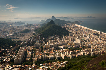 Fotomurales - Aerial View of Copacabana District, the Sugarloaf Mountain in the Horizon, Rio de Janeiro, Brazil