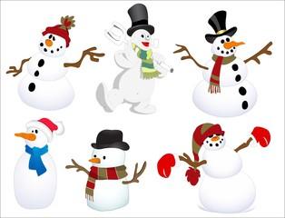 Collage of snowmen and children