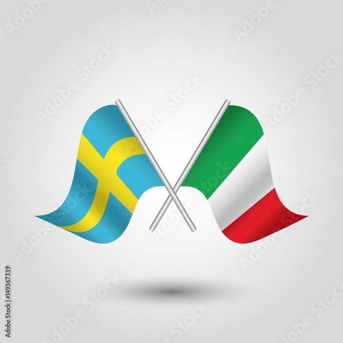 Vector Two Crossed Swedish And Italian Flags On Silver Sticks