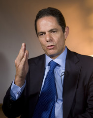 Colombia presidential candidate of Cambio Radical party Vargas Lleras speaks during a Reuters interview in Bogota
