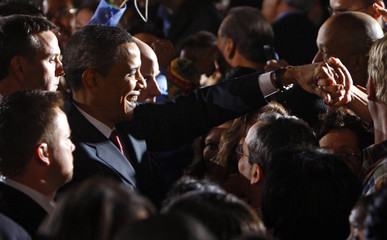 US Democratic presidential candidate Senator Barack Obama greets supporters at his Ohio and Texas primary election night rally in San Antonio, Texas