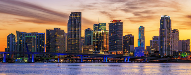 Famous cIty of Miami at sunset
