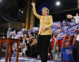 """US Democratic presidential candidate Senator Hillary Clinton (D-NY) waves to supporters at her """"Super Tuesday"""" primary election night rally in New York"""