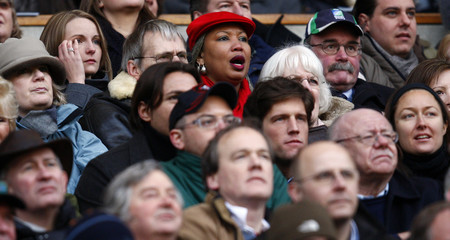 Vera Armitage reacts during the Six Nations rugby match between England and Italy at Twickenham in London