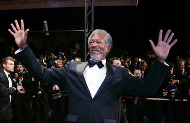 "Actor Freeman poses during red carpet arrivals for ""Sin City"" at Cannes Film Festival."