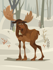 Happy smiling elk character mascot walking forest. Vector flat cartoon illustration