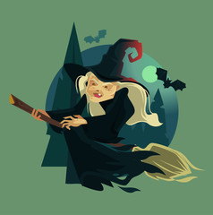 Happy smiling evil old witch mascot character. Vector flat cartoon illustration