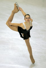 Nadege Bobillier of France performs during European Figure Skating Championships at the Palais des S..