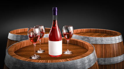 Wine bottle and wine glass on wodden barrel.