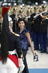 France's Justice Minister Rachida Dati arrives at a dinner during a EU-Mediterranean summit in Paris