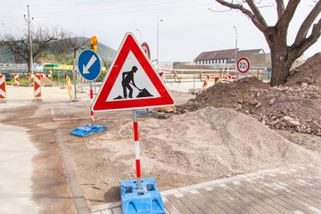 Road repair in the Czech Republic. Traffic signs. Roadwork. Traffic Marking of detours.
