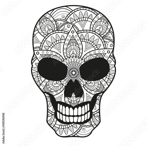 Vector Illustration Mandala Skull Coloring Book