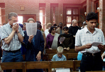 CHRISTIAN WORSHIPPERS GATHER FOR SUNDAY SERVICE IN ISLAMABAD.