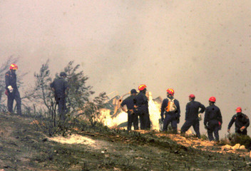Firemen try to extinguish fire at crash site of Cypriot airliner north of Athens.