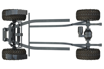 Golf car chassis with wheels, top view. 3D rendering