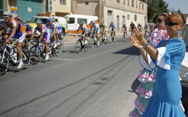 "Riders cycle during the 11th stage of the Tour of Spain ""La Vuelta"" cycling race between Murcia and Caravaca de la Cruz"