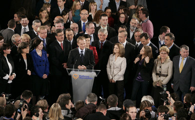 Donald Tusk, leader of the centre-right opposition party Civic Platform PO addresses party members before the announcement of official results in Warsaw