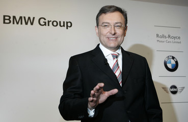 New CEO of German luxury carmaker BMW Reithofer gestures before during the company's annual news conference in Munich