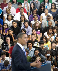 Students listen to Obama speak about education at Wakefield High School in Virginia