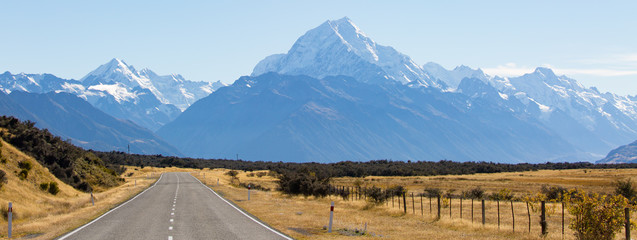 Route Richtung Mount Cook