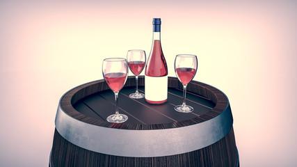 Wine bottle and wine glass on wodden barrel.