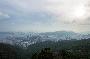 Panoramic view of Busan in South Korea, Jang San - Stock image