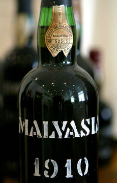 -PHOTO TAKEN 13OCT04- A bottle of vintage 1910 Malmsey Madeira wine produced by the Madeira Wine Com..