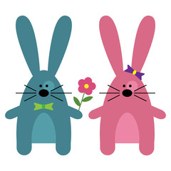 Blue and rose bunnies with flower