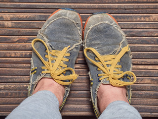 Pair of very old running shoes.