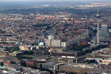 AERIAL VIEW SHOWS DOWNTOWN BERLIN.