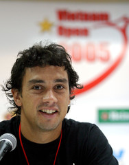 Argentina's Mariano Puerta speaks at a news conference during the Vietnam Open in Ho Chi Minh City