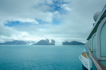 Cruise ship approaches the Endurance and other glaciers on Elephant Island where Ernest Shackleton and his men found refuge in 1916 when their ship was trapped in the ice in Antarctica.