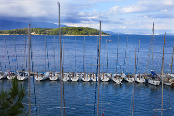 A line of yachts at peer