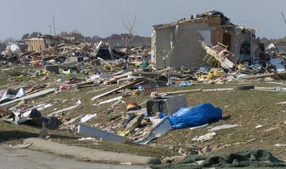 Mobile home park is shown after tornado struck in Evansville, Indiana