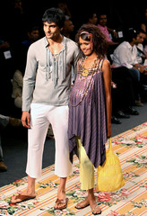 Models present creations by Indian designer Jattinn Kochhar at a fashion show in New Delhi