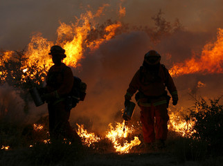 Fire fighters set a burn out as they battle the Witch Fire near Pauma Valley California