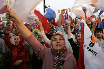 Turkey's ruling AK Party supporters celebrate the early results of the national elections in front of the party headquarters in Ankara