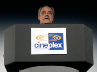 Cineplex Galaxy Income fund President Ellis Jacob addresses unit holders in Toronto