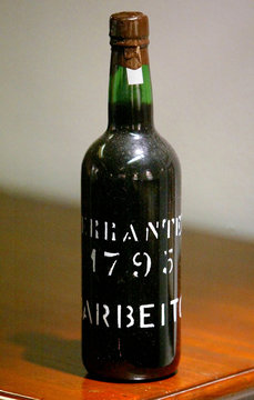 -PHOTO TAKEN 13OCT04- A 1795 vintage bottle of Terrantez Madeira wine, one of the world's most wante..