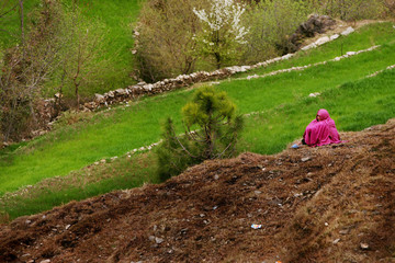 Kashmiri earthquake survivor sits along hillside in Garri Habibulla in Pakistan