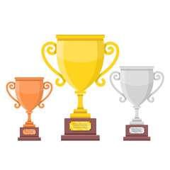 Trophy cups set. Bronze, silver and gold cups. First place, second and third places concepts. Modern flat design. Vector illustration