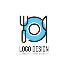 Food, breakfast, restaurant logo design concept. Plate, fork and knife icon. Vector logo