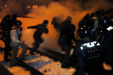 RIOT POLICE USE TEAR GAS DURING ANTI-WEF DEMONSTRATION IN LANDQUART.