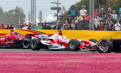Toyota Formula One driver Trulli of Italy faces wrong way at turn six during the Australian Grand Prix in Melbourne