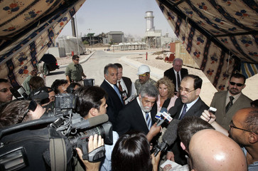 Iraqi PM al-Maliki speaks to media during news conference after ceremony at Baghdad South Power Plant in Baghdad