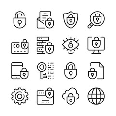 Internet security line icons set. Modern graphic design concepts, simple outline elements collection. Vector line icons