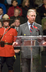 Britain's Prince Charles delivers a speech at the official welcoming ceremony in St. John's