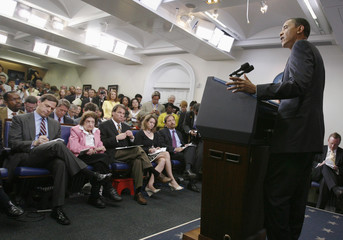 U.S. President Barack Obama answers a question during his news conference in the Brady Press Briefing Room of the White House in Washington