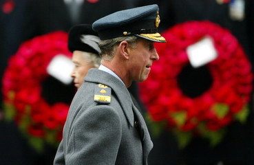 BRITAIN'S PRINCE OF WALES RETURNS TO HIS POSITION AFTER LAYING WREATHDURING REMEMBRANCE SUNDAY SERVICE ...