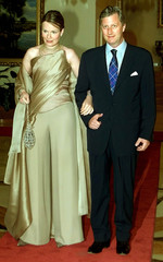 Belgian Princess Mathilde (L) poses for photographers with her husband Crown Prince Philippe (R) bef..